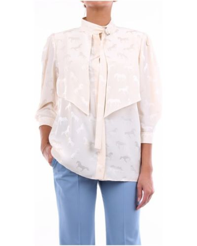 Beżowa bluzka z wiskozy z paskiem Stella Mccartney