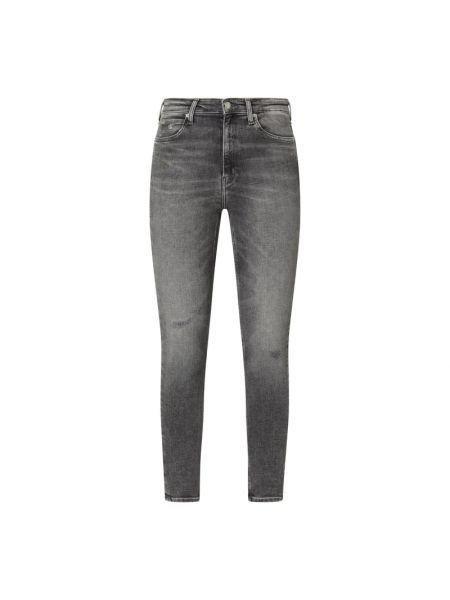 Bawełna bawełna jeansy na wysokości chudy z paskami Calvin Klein Jeans