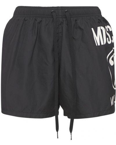 Czarne spodenki do pływania z siateczką z nylonu Moschino Underwear