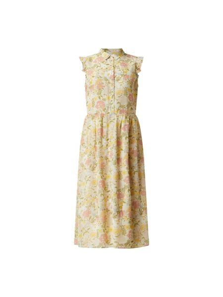 Beżowa sukienka midi rozkloszowana z falbanami Vila