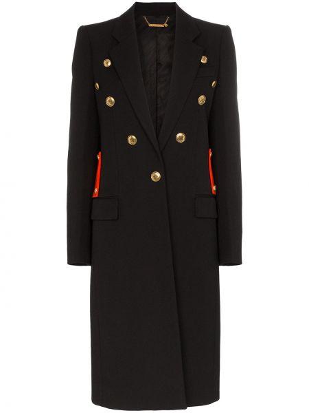Шерстяное черное длинное пальто с капюшоном Givenchy