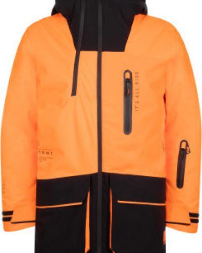 Оранжевая утепленная длинная куртка на молнии Termit