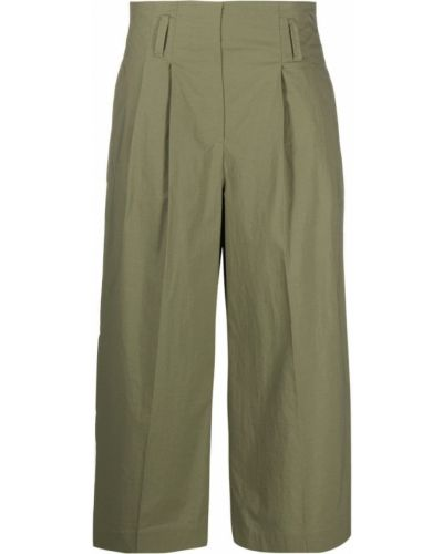 Зеленые с завышенной талией укороченные брюки с поясом Luisa Cerano