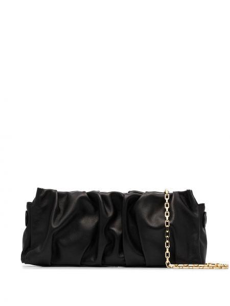 Z paskiem czarny torebka na łańcuszku z prawdziwej skóry z falbankami Elleme