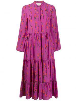 Платье миди в стиле бохо фиолетовый La Doublej
