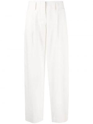 Белые шелковые широкие брюки с потайной застежкой Malo