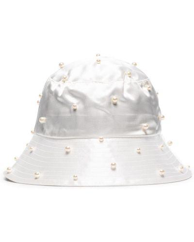 Biały kapelusz z jedwabiu perły Jennifer Behr