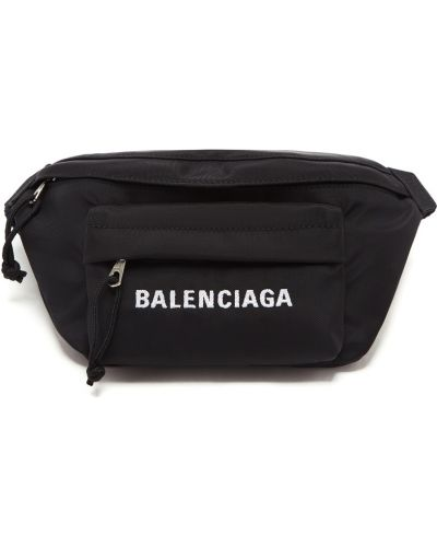 Текстильный черный ремень с карманами Balenciaga
