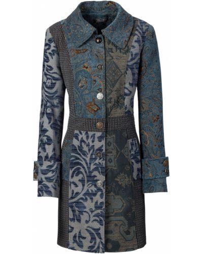 Модное синее полупальто на пуговицах Bonprix