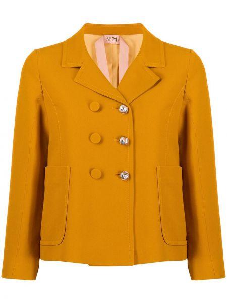 Желтый удлиненный пиджак двубортный с карманами N°21