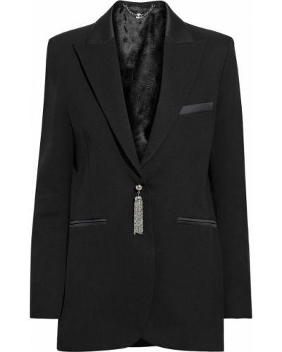 Шерстяной черный пиджак с карманами Paco Rabanne