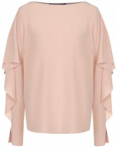 Блузка с длинным рукавом с вырезом из крепа Ralph Lauren