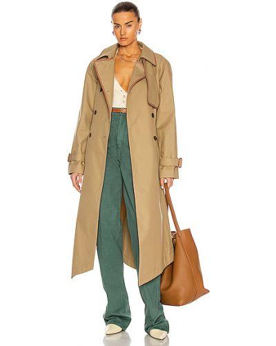 Домашнее бежевое кожаное пальто Loewe
