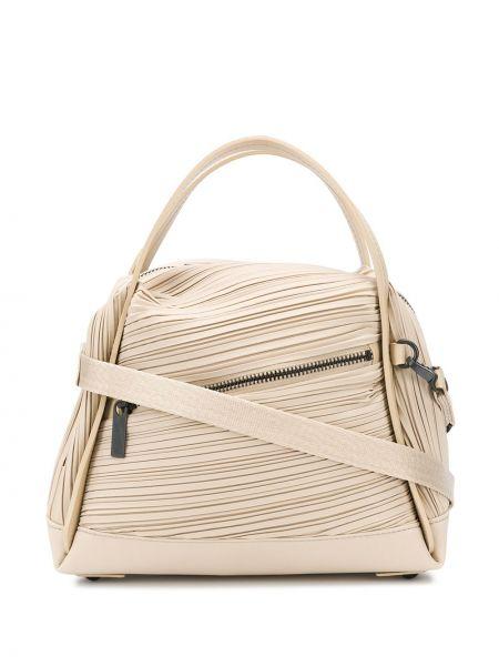 Beżowa torba na ramię skórzana Pleats Please Issey Miyake