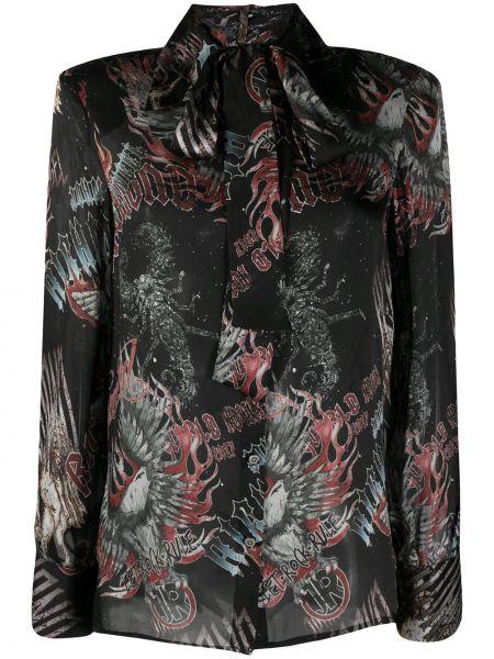 Шелковая черная классическая рубашка с длинными рукавами John Richmond