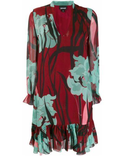 Платье с цветочным принтом с V-образным вырезом Just Cavalli