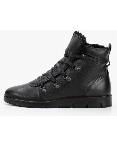 Черные кожаные ботинки Ecco