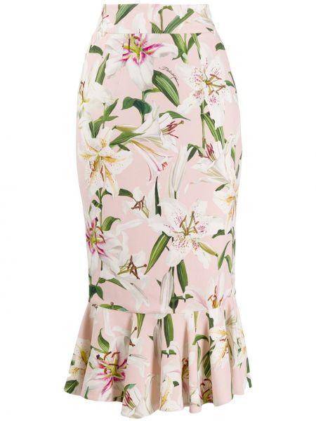 Юбка миди с цветочным принтом с баской Dolce & Gabbana