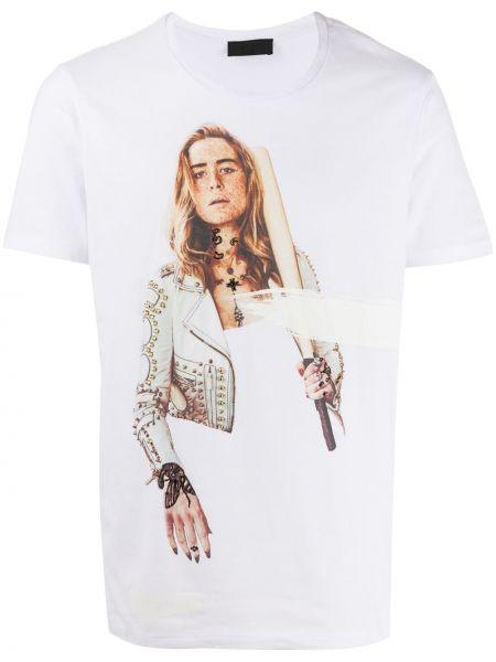 Biały t-shirt bawełniany z printem Rh45