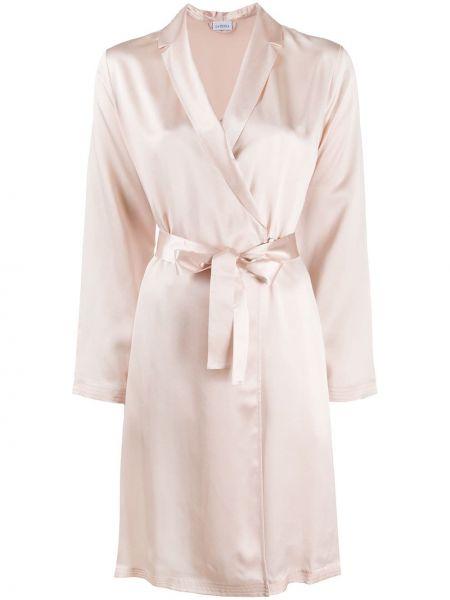 Шелковый халат - розовый La Perla