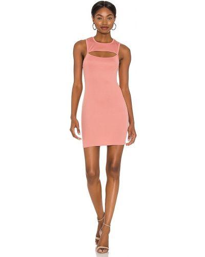 Трикотажное розовое платье мини с декольте Michael Costello