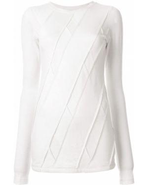 Белый шерстяной тонкий свитер с круглым вырезом Taylor