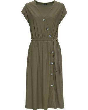 Платье с поясом на пуговицах с V-образным вырезом Bonprix