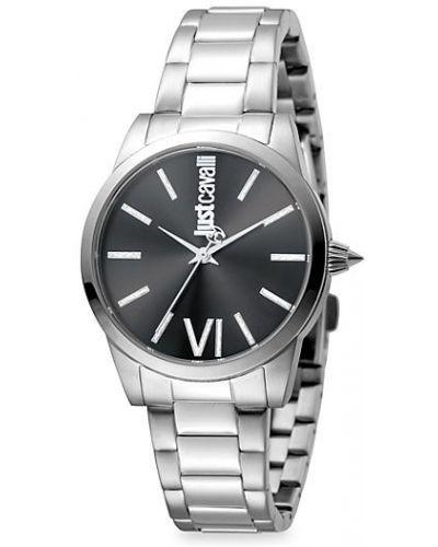 Серебряные кварцевые часы круглые с пряжкой Just Cavalli