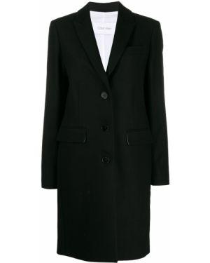 Шерстяное черное пальто Calvin Klein