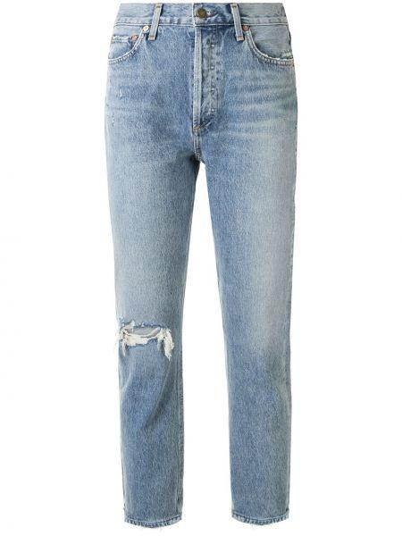 Prosto bawełna niebieski jeansy na wysokości z kieszeniami Agolde