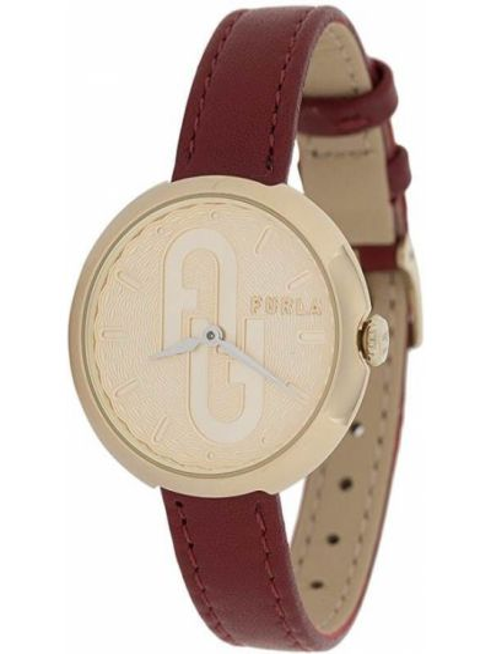 Zegarek złoto z prawdziwej skóry Furla
