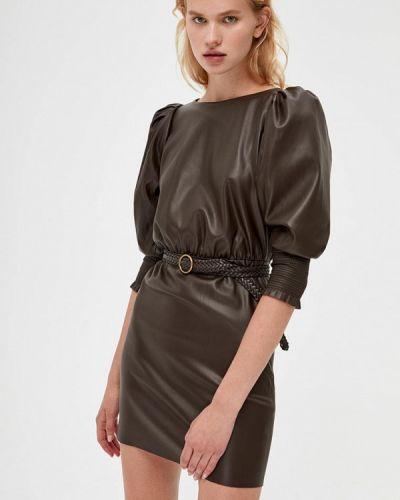 Коричневое кожаное платье Lime