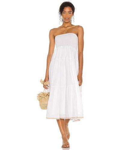 Белое платье с декольте с подкладкой Pitusa