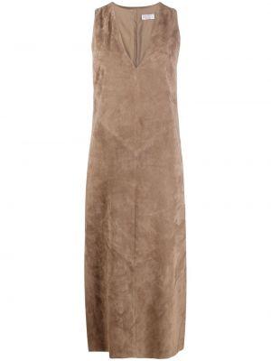 Коричневое кожаное платье миди трапеция Brunello Cucinelli