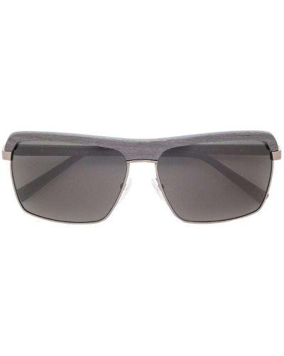 Черные солнцезащитные очки квадратные металлические с завязками Gold And Wood