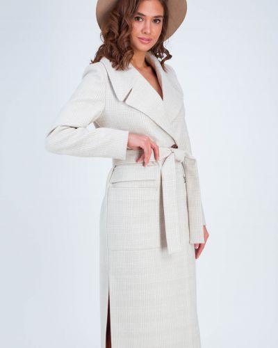 Пальто с поясом - бежевое Emass