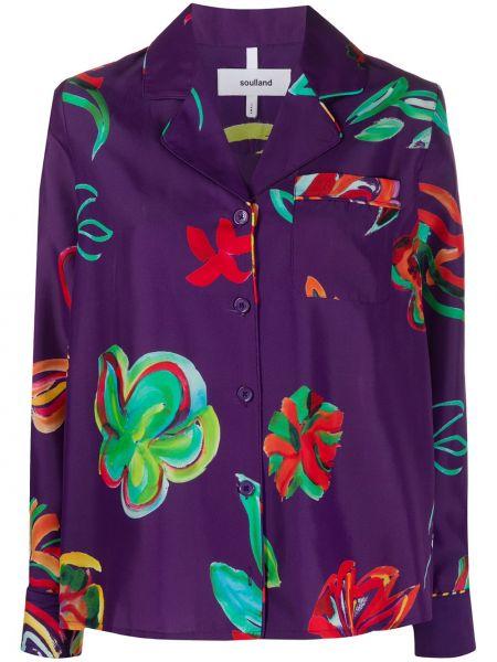 Фиолетовая рубашка с воротником на пуговицах с карманами Soulland