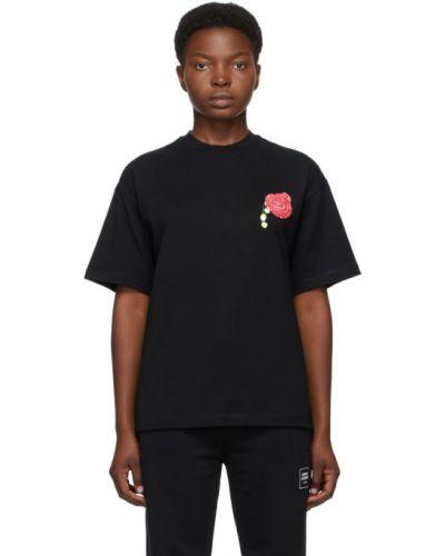 Хлопковая черная рубашка с коротким рукавом с воротником с короткими рукавами Opening Ceremony