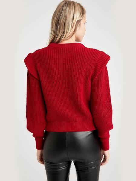 Нарядный акриловый красный свитер Defacto