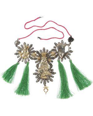 Zielony złoty naszyjnik w paski Amle