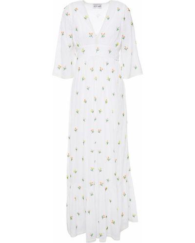 Хлопковое белое платье макси с вышивкой Antik Batik