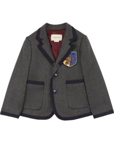 Серый пиджак однобортный Gucci