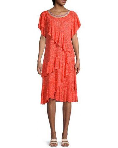 Хлопковое платье миди с короткими рукавами с оборками Pitusa
