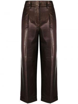 Кожаные коричневые укороченные брюки свободного кроя с потайной застежкой Arma
