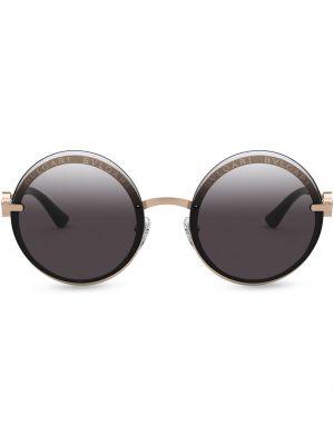 Розовые солнцезащитные очки круглые металлические Bvlgari