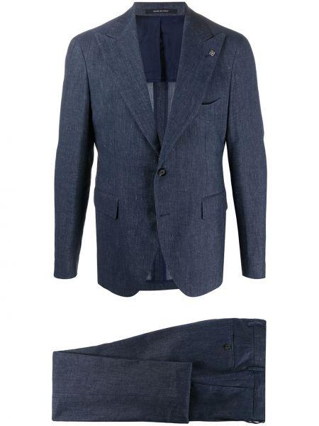 Niebieski garnitur bawełniany z długimi rękawami Tagliatore
