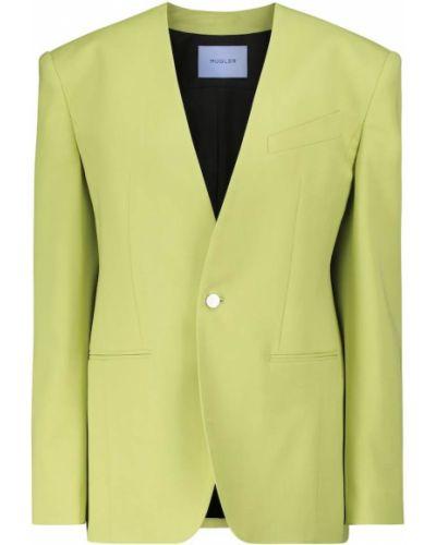 Шерстяной зеленый пиджак Mugler