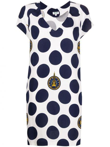 Синее платье с V-образным вырезом на молнии с короткими рукавами Kenzo Pre-owned