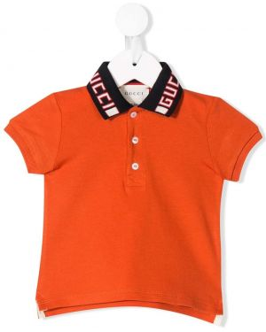 Асимметричная оранжевая рубашка на пуговицах Gucci Kids