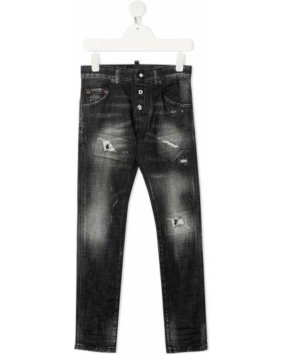 Кожаные черные джинсы с нашивками Dsquared2 Kids